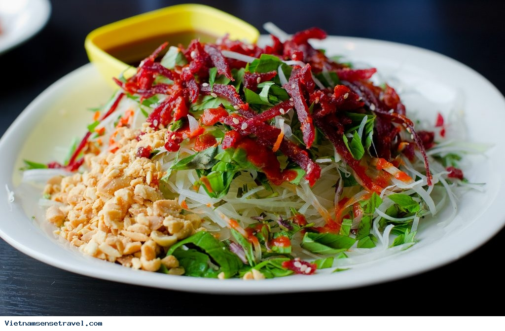 Hanoi Street Food, Beef Jerky Salad, Spring Rolls, hanoi street food tour, vietnam street food tour